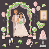 Cream  and Green Wedding Design Stock Images
