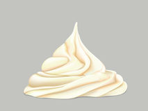 Cream on a grey background. Delicate twisted cream on a grey background vector illustration