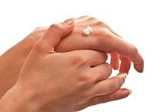 Cream on hand Royalty Free Stock Image