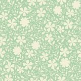 Cream hand drawn flowers in dense vintage duotone design. Seamless vector pattern on mint green background. Perfect for. Packaging, wellness products, fabric royalty free illustration