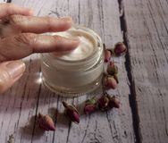 Cream of hands of roses royalty free stock images