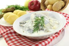 Cream herring Stock Photos