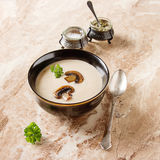 Cream homemade mushroom soup in a black plate with parsley. Marb Royalty Free Stock Photos