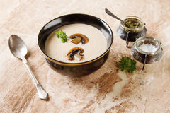 Cream Homemade Mushroom Soup In A Black Plate With Parsley Marb Royalty Free Stock Photo