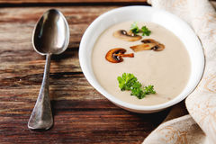 Cream Homemade Mushroom Soup In A White Plate With Parsley Dark Stock Photo