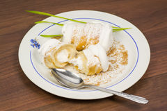 Cream horns with whipped cream Royalty Free Stock Photography
