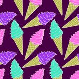 Cream ice cream, strawberry and pistachio in a waffle cup. Hand drawn doodle, sketch in pop art style, white outline, seamless pattern design on dark purple Royalty Free Stock Image