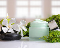 Cream jar algae front view with windows background Royalty Free Stock Photos