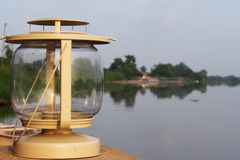 Cream lantern. With river view Royalty Free Stock Photo