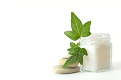 Cream and leaf. Small jar, in him cosmetic, beside it pebbles and green leaf royalty free stock images