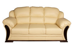Cream leather sofa Royalty Free Stock Images