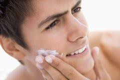 cream man putting shaving Στοκ Εικόνες