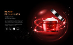 Cream mask ads. Red packaging skincare product in 3D illustration, glitter particles elements Royalty Free Stock Photos