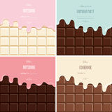Cream melted on chocolate bar background set. Cute design with sample text. Stock Image