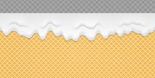 Cream Melted on Wafer Background. Ice cream flow soft seamless texture. Vector Illustration.  vector illustration