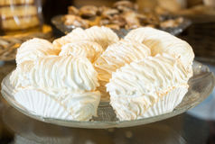 Cream meringue in crystal vase Royalty Free Stock Photo