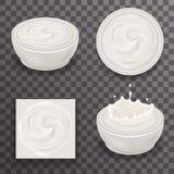 Cream Milk Curl Splash Drops Realistic Transparent Background 3d Design Vector Illustration Stock Images
