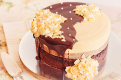 Cream mousse cake with chocolate Stock Photo