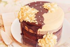 Cream mousse cake with chocolate Stock Photo
