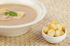 Cream of mushroom soup and bread croutons Stock Photos