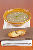 Cream of mushroom soup and bread croutons Stock Photo