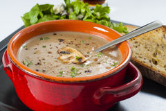 Cream of mushroom soup. Creamy wild mushroom soup diner with garlic toast, lettuce salad, and a beer Royalty Free Stock Images