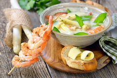 Free Cream Of Asparagus Soup With Prawns Royalty Free Stock Photo - 91457365