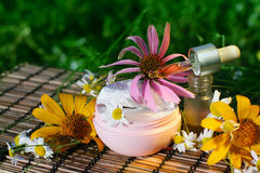 Cream and oil with flowers. Essential oil  and box of natural cream with flowers  - beauty treatment Stock Photo