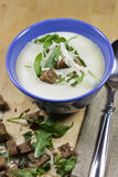 Cream of Onion Soup. With Croutons, Rucola and Parmesan Royalty Free Stock Photos