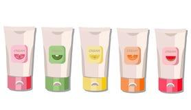 Cream package set. Fruit fragrance. Watermelon, kiwi, orange handcream label. Vector advertise, template, icon, logo. Cream package set. Fruit fragrance Royalty Free Stock Image