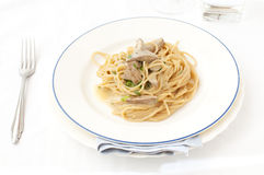 Cream pasta with liver Royalty Free Stock Photo