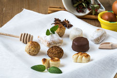 Cream and pastries, typical Christmas sweets in Spain Stock Photo