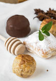 Cream and pastries, typical Christmas sweets in Spain Royalty Free Stock Photos