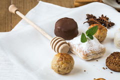 Cream and pastries, typical Christmas sweets in Spain Royalty Free Stock Photo