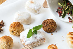 Cream and pastries, typical Christmas sweets in Spain Stock Image