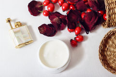 Cream, petals of rose and rose hips Royalty Free Stock Photos