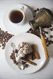 Cream pie with coffee on beans background Royalty Free Stock Photography