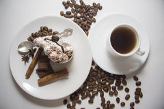 Cream pie with coffee stock image