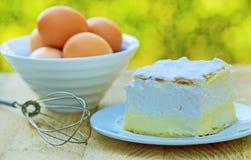 Cream pie - cream cake. On plate Stock Images