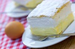 Cream pie - cream cake. On the table Stock Images