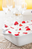 Cream pie and strawberries Royalty Free Stock Images