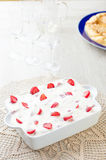 Cream pie and strawberries Royalty Free Stock Photos