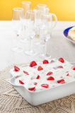 Cream pie and strawberries Royalty Free Stock Photo