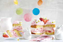 Cream pie with strawberries to easter Stock Photo