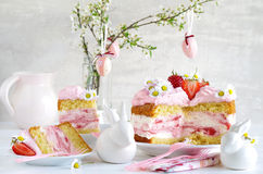 Cream pie with strawberries to easter Royalty Free Stock Image