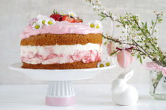 Cream pie with strawberries to easter Stock Images
