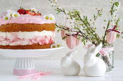 Cream pie with strawberries to easter Stock Photos