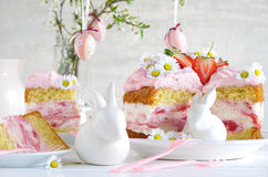 Cream pie with strawberries to easter Royalty Free Stock Images