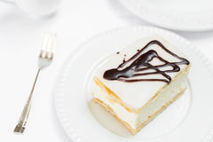 Cream Pie on White Plate Stock Photography