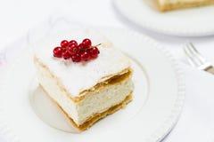 Cream Pie on White Plate Stock Photo